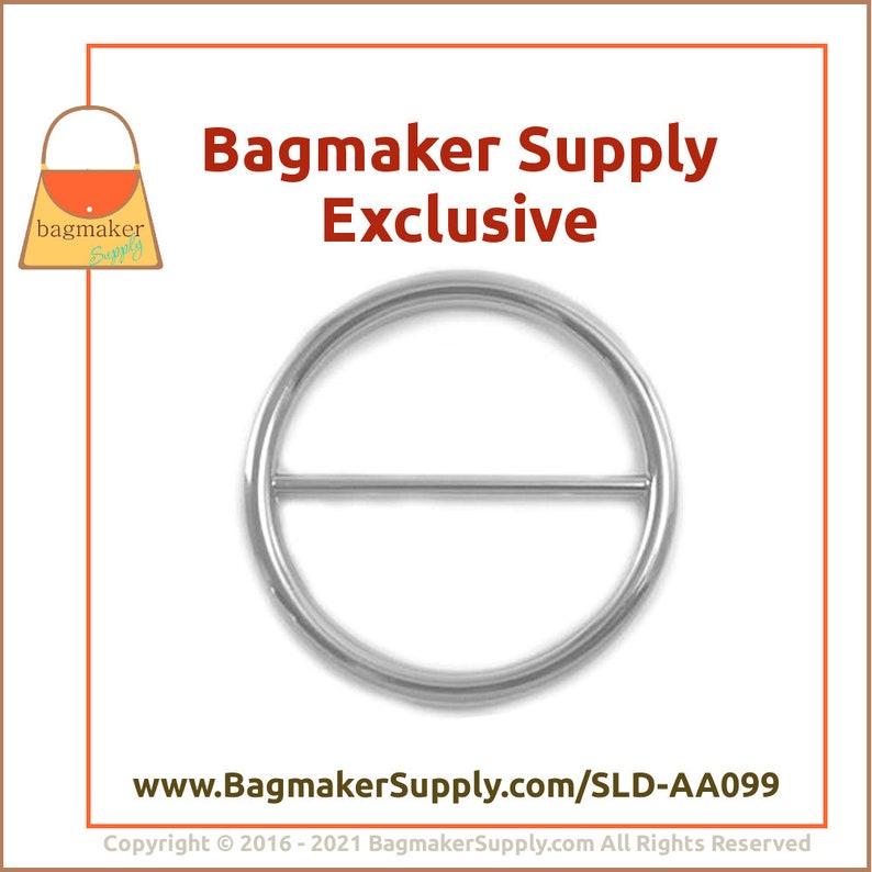 2 Pack SLD-AA099 Bag Making Strap Handbag Purse Hardware 1-12 Inch Round Slide 38 mm 1.5 Inch Circle Slider Buckle Nickel Finish