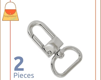"3/4 Inch Snap Hook, Nickel Finish, Lobster Claw Swivel Purse Clip, 2 Pieces, .75"", Handbag Strap Bag Making Hardware Supplies, SNP-AA002"
