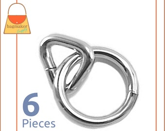 1 Inch Ring and 5/8 Inch Triangle Ring, Nickel Finish over Brass, 6 Pieces, Ring and Loop, Handbag Bag Making Purse Hardware, RNG-AA119