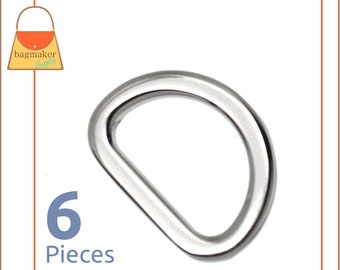 """5/8 Inch Flat Cast D Ring, Super-Shiny Nickel Finish, 6 Pack, For 5/8"""" or 1/2"""" Inch Straps, Purse Handbag Bag Making Hardware, RNG-AA046"""