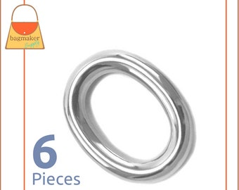 """1 Inch Oval O Ring, Nickel Finish, 6 Pieces, One Inch 25 mm Cast O-Ring, Handbag Bag Making Purse Hardware Supplies, 1"""", RNG-AA048"""