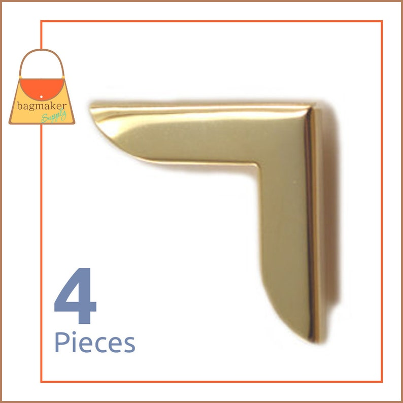 1-1/4 Inch Purse Flap Book Corner Protectors Gold Finish 4 image 0
