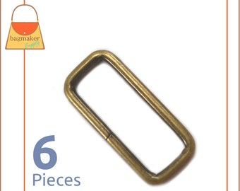 1-1/2 Inch Rectangle Ring, Antique Brass Finish, Rectangular Wire Loop, 6 Pack, Bronze Finish, Purse Handbag Hardware, 1.5 Inch, RNG-AA161
