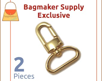 """1 Inch Swivel Snap Hook, Gold Finish, 2 Pack, Handbag Bag Making Hardware, Purse Supplies, 1"""", Lobster Claw, SNP-AA098"""