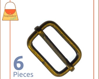 1 Inch Moving Bar Slide, Antique Brass Finish, 6 Pieces, 25 mm Movable Bar Purse Strap Slider, Handbag Making Hardware Supplies, SLD-AA033