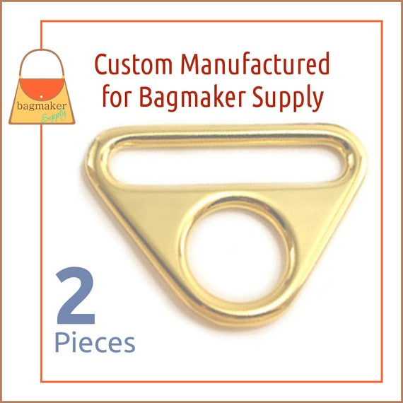 36 Pack Slot and Hole Loop Buckle 1.5 Inch 38 mm Triangle Double Rings RNG-AA358 1-12 Shiny Rose Gold Finish Purse Handbag Hardware