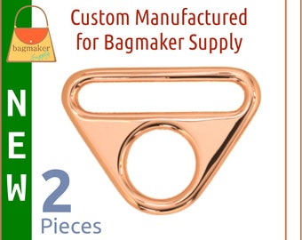 """1.5 Inch 38 mm Triangle Double Rings, Slot and Hole Loop Buckle, Shiny Rose Gold Finish, 2 Pack, Purse Handbag Hardware, 1-1/2"""", RNG-AA358"""