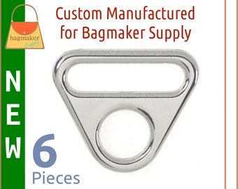 """1 Inch Triangle Double Ring, Deluxe Nickel Finish, 6 Pack, 25 mm Slot and Hole Loop, """"Silver"""" Finish, Purse Handbag Hardware, RNG-AA404"""