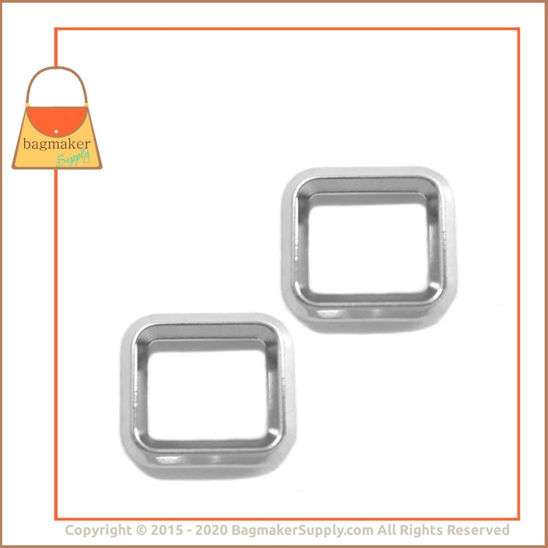 Nickel Finish 6 Pieces .75 Inch Handbag Purse Bag Making Hardware .75 RNG-AA081 34 Inch Rectangle Ring Beveled Edge Square Ring