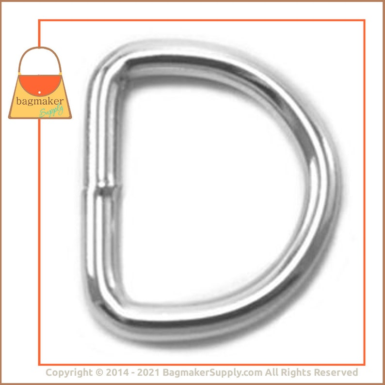 Purse Making Handbag Hardware Supplies RNG-AA019 Nickel Finish 18 Pieces 19 mm Welded D-Ring .75 Inch 34 Inch D Ring 3.5 mm Gauge