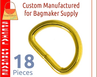 3/4 Inch D Ring, Shiny Brass Finish, 18 Pieces, .75 Inch 19 mm D Ring, Purse Bag Making Handbag Hardware Craft Supplies, RNG-AA419