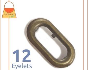 "1.75 Inch Oblong Oval Eyelet / Grommet, Antique Brass / Bronze Finish, 12 Sets, Handbag Purse Making Hardware, 1-3/4"", EGR-AA041"