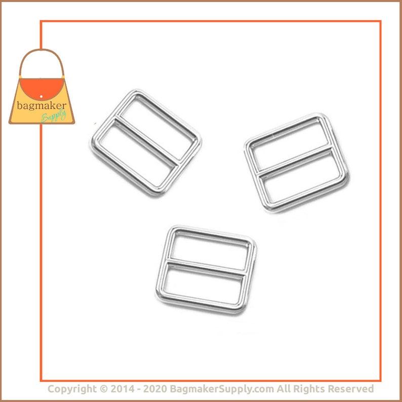 Handbag Bag Making Hardware Supplies SLD-AA006 18 Pieces Purse Slider Buckle 1 Inch Cast Slide for Purse Straps 1 Shiny Nickel Finish