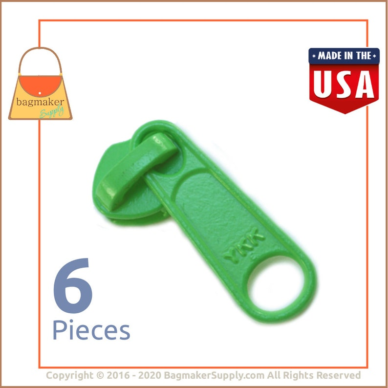 YKK Long Tab Zipper Pull / Slide Metal Lime Green Finish For image 0