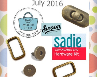 Sadie Expandable Bag Hardware Kit July 2016 Bag of the Month Club by Swoon, Antique Brass Finish, Turn Lock, Rectangle Ring Purse, KIT-AA018