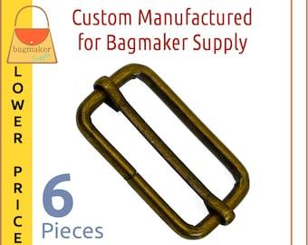 1-1/2 Inch Moving Bar Purse Strap Slide, 4 mm, Antique Brass / Bronze Finish, 6 Pieces, 1.5 Inch, Handbag Purse Making Hardware, SLD-AA135