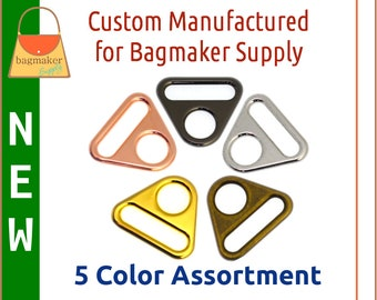1 Inch Triangle Double Ring, 5 Color Assortment, 5 Piece Sampler Pack, 25 mm Slot and Hole Loop, Purse Handbag Hardware, SMP-AA021