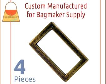 1 Inch Rectangle Ring, Antique Brass Finish, 4 Pack, 25 mm Flat Cast Rectangular Ring, Craft Bag Making Purse Handbag Hardware, RNG-AA339