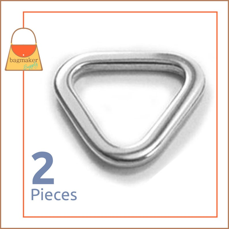 1 Inch Triangle Flat Ring Shiny Nickel Finish 2 Pieces image 0