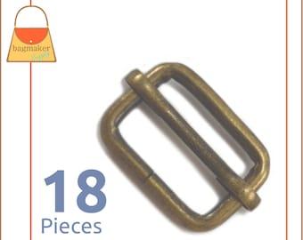 3/4 Inch Moving Bar Slide, Antique Brass Finish, 18 Pack, .75 Inch Movable Slider, Bronze Finish, Purse Handbag Hardware Supplies, SLD-AA056