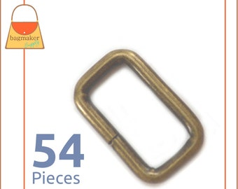 """3/4 Inch Rectangular Wire Loop / Ring, Antique Brass Finish, 54 Pieces, .75 Inch, .75"""", 3/4"""" Rectangle Ring, Purse Hardware, RNG-AA164"""