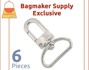 """1 Inch Swivel Lobster Claw Snap Hook, Deluxe Nickel Finish, 6 Pack, 25 mm Purse Clip, Handbag Bag Making Hardware Supplies, 1"""", SNP-AA100"""