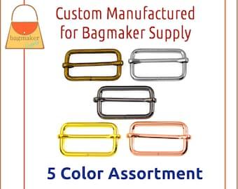 1-1/2 Inch Moving Bar Purse Strap Slide, 4 mm, 5 Color Assortment Sampler Pack, 38 mm, 1.5 Inch, Handbag Purse Hardware, SMP-AA020