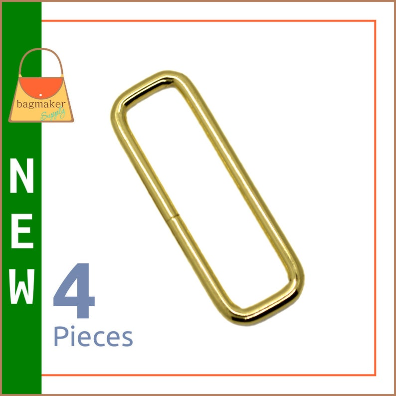 2 Inch Rectangular Wire Loop / Ring 3 mm Brass Finish 4 image 0