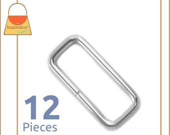 1.5 Inch Rectangle Ring, Nickel Finish, 12 Pieces, Purse Handbag Bag Making Hardware Supplies, 1-1/2 Inch Rectangular Ring, RNG-AA280