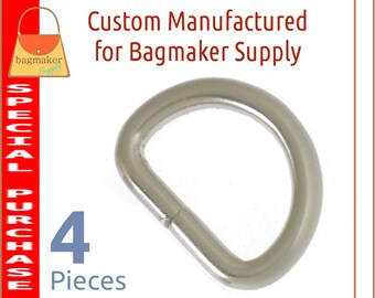 3/4 Inch D Ring, Deluxe Brushed Nickel Finish, 4 Pieces, .75 Inch 19 mm D Ring, Handbag Purse Bag Making Hardware Supplies, RNG-AA418
