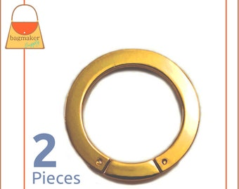 1-3/8 Inch Screw Gate Ring, Super Shiny Gold Finish, 2 Pieces, Large 35 mm O Ring, Handbag Purse Bag Making Hardware Supplies, RNG-AA131