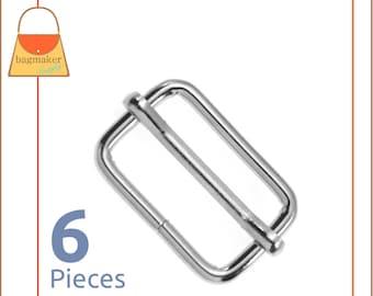 1 Inch Moving Bar Purse Strap Slide, Nickel Finish, 6 Pieces, 25 mm Movable Slider 3 mm Gauge, Bag Making Handbag Hardware, SLD-AA008