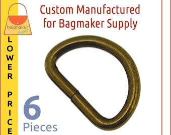 1 Inch D Ring, Antique Brass Finish, 6 Pieces, 3.75 mm Gauge Wire Formed 25 mm, Bronze Finish, Handbag Hardware Purse Supplies, RNG-AA415