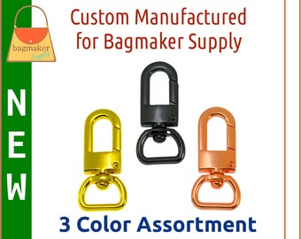 1/2 Inch Swivel Snap Hook, 3 Color Assortment Sampler Pack, Deluxe Finish, 13 mm Lobster Claw Purse Clip, Craft Handbag Hardware, SMP-AA022