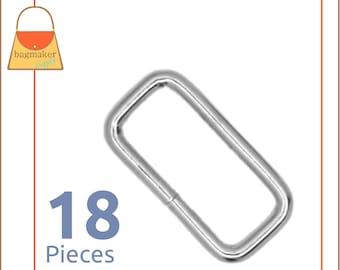 "1.25 Inch Rectangular Ring, 3.75 mm Gauge, Nickel Finish, 18 Pieces, Purse Handbag Hardware, 1-1/4"" Rectangle Wire Loop 32 mm, RNG-AA310"