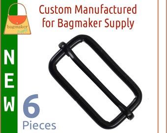 1-1/2 Inch Moving Bar Slide, Black Satin Finish, 6 Pack, 4 mm Gauge, 1.5 Inch 38 mm Adjustable TriGlide, Purse Handbag Hardware, SLD-AA110
