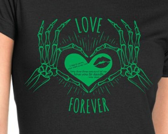 Love Forever Skeleton Heart Hands with Pete Steele Quote