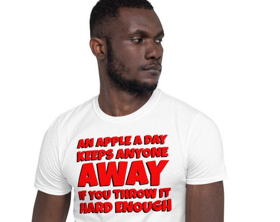 An Apple A Day Keeps Anyone Away - light color Short-Sleeve Unisex sarcastic T-Shirt
