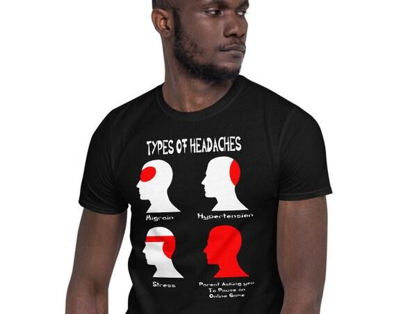 Types of Headaches Gamers Short-Sleeve Dark Unisex T-Shirt