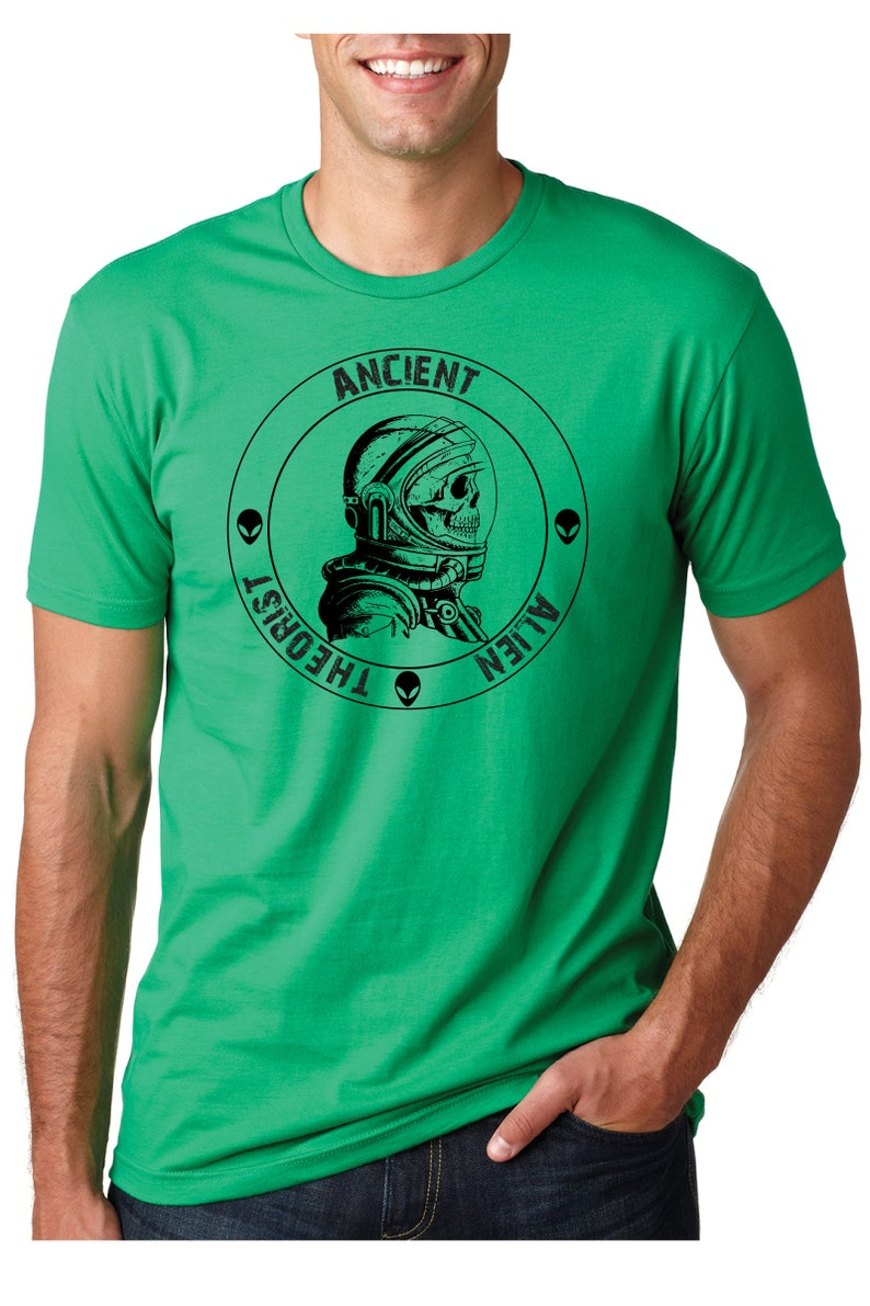 4120833514d3b Ancient Alien Theorist Tshirt - handmade shirt design Printed on UniSex  t-shirt in 19 Colors - makes a great gift for Alien and History Fans