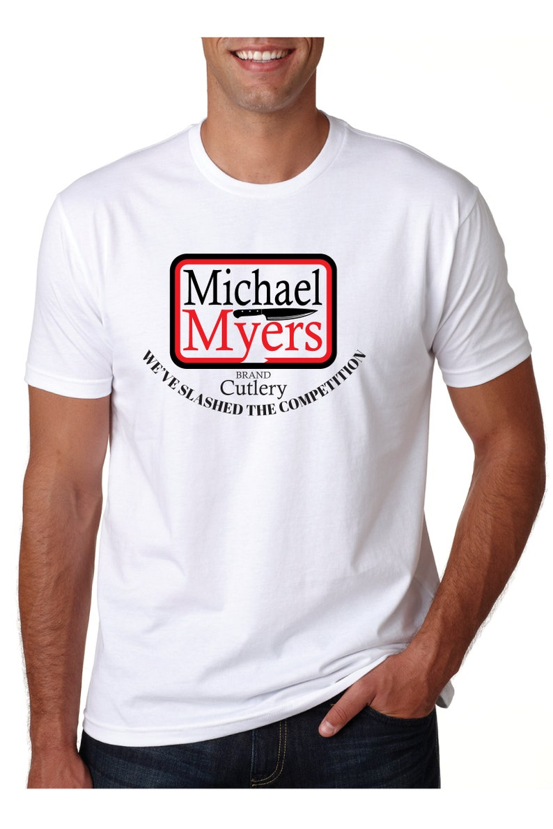 bff0af63ec3cc Michael Myers Brand Cutlery Tshirt - handmade shirt design Printed on  UniSex t-shirt in 19 Colors - makes a great gift for Slasher Fans