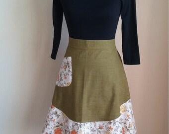 Handmade Apron, Green Apron, Vintage Fabric Apron, Apron