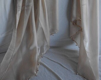 Elegant Palest Gold 100% Silk Scarf beaded with Faceted Garnets & Pearls