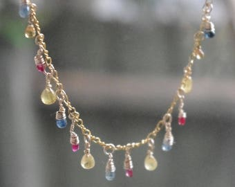 Gorgeous Natural Fancy Sapphire Briolettes on 14kt gold fill chain