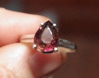 Gorgeous Natural Rubelite Tourmaline in Sterling Silver Ring