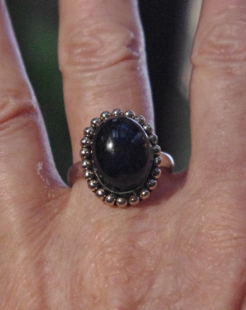 Superb Natural Midnight Blue Sapphire Cab Sterling Silver Ring