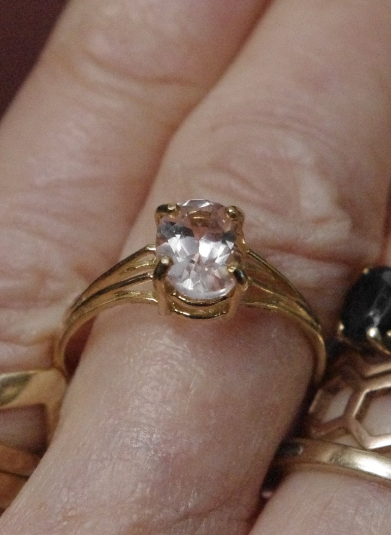 Natural Pink Morganite in Solid 10kt Gold Ring