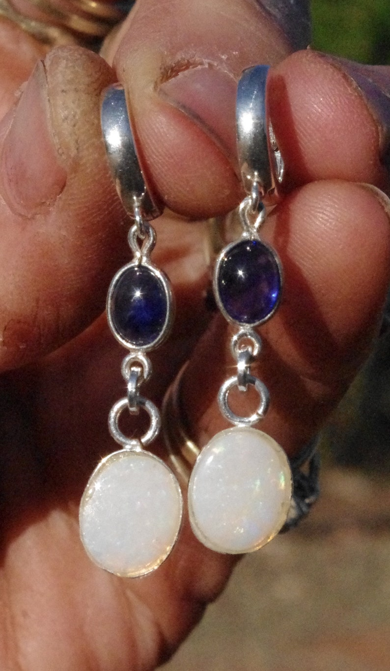Natural Blue Sapphires and Crystal Opal Drops on Sterling Silver thick round leverbacks