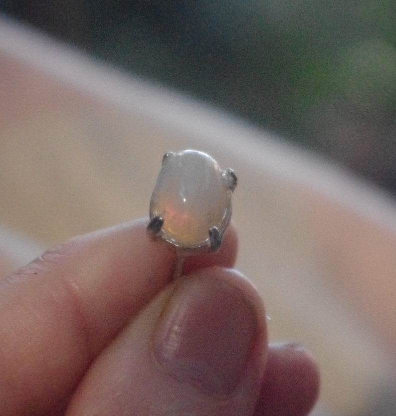 Natural solid White Crystal Opal tie tack
