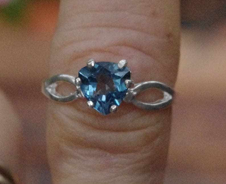 Natural London Blue Topaz Trillion in Sterling Silver Ring